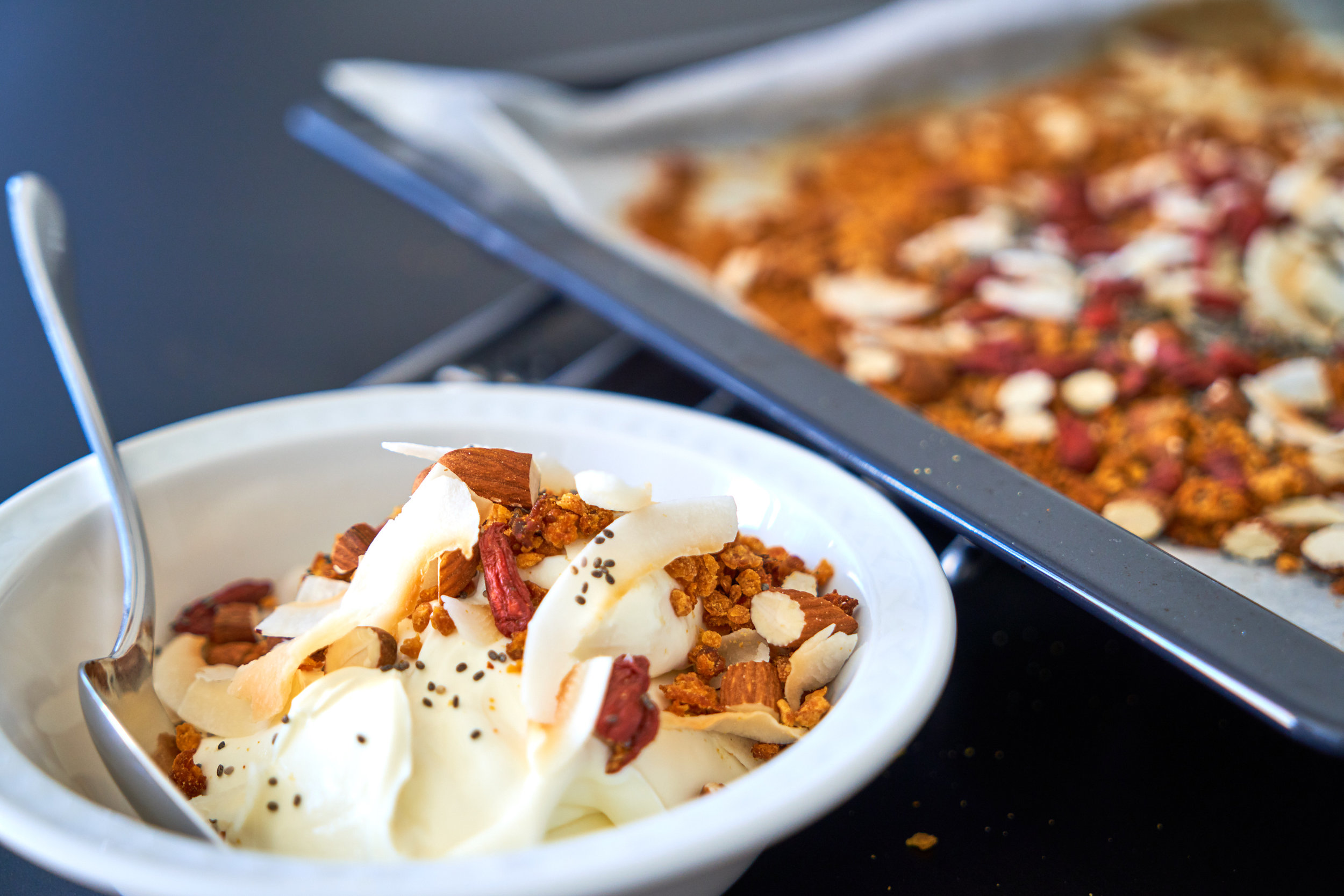 Lentil Granola for a Protein-Rich Breakfast - enjoy with Greek yogurt   In Carina's Kitchen
