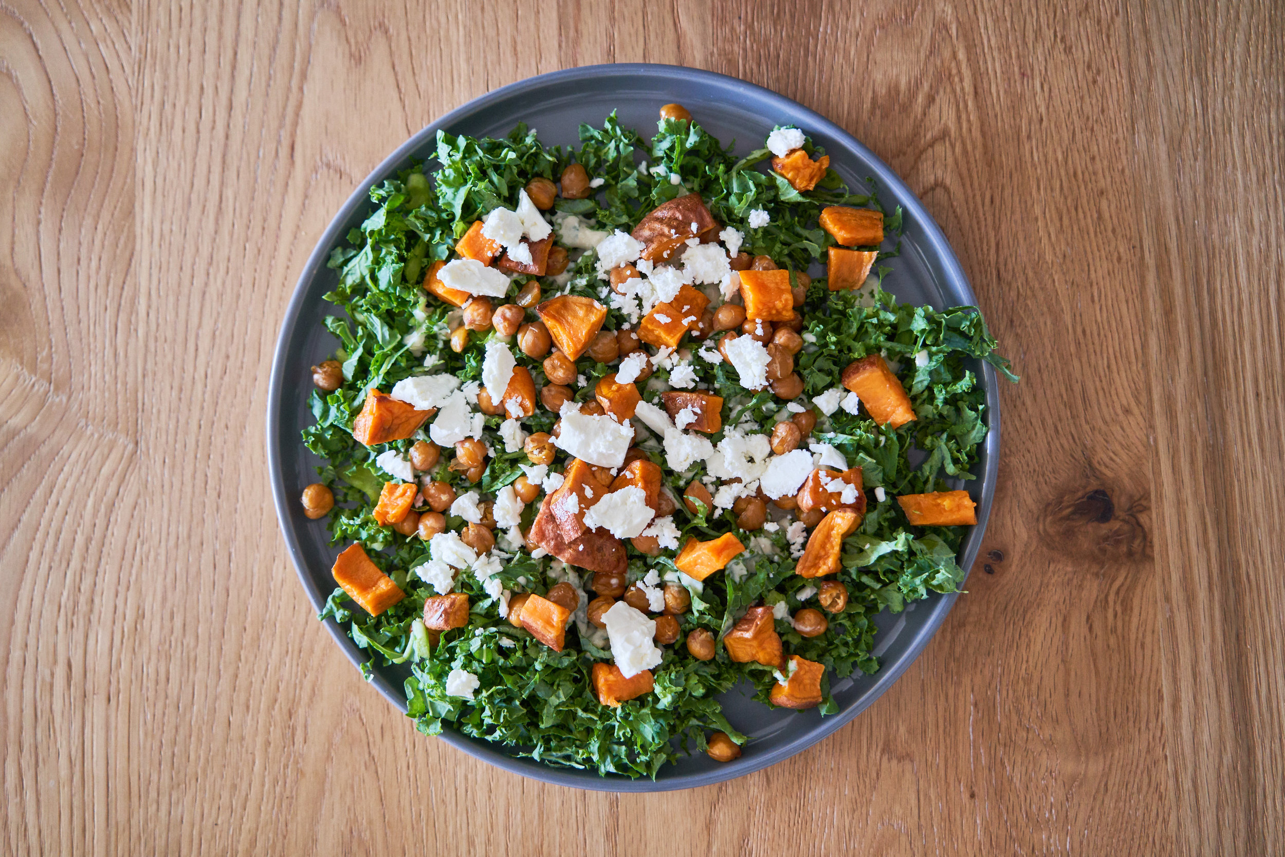 Kale Salad with Tangy Tahini Dressing - with feta | In Carina's Kitchen