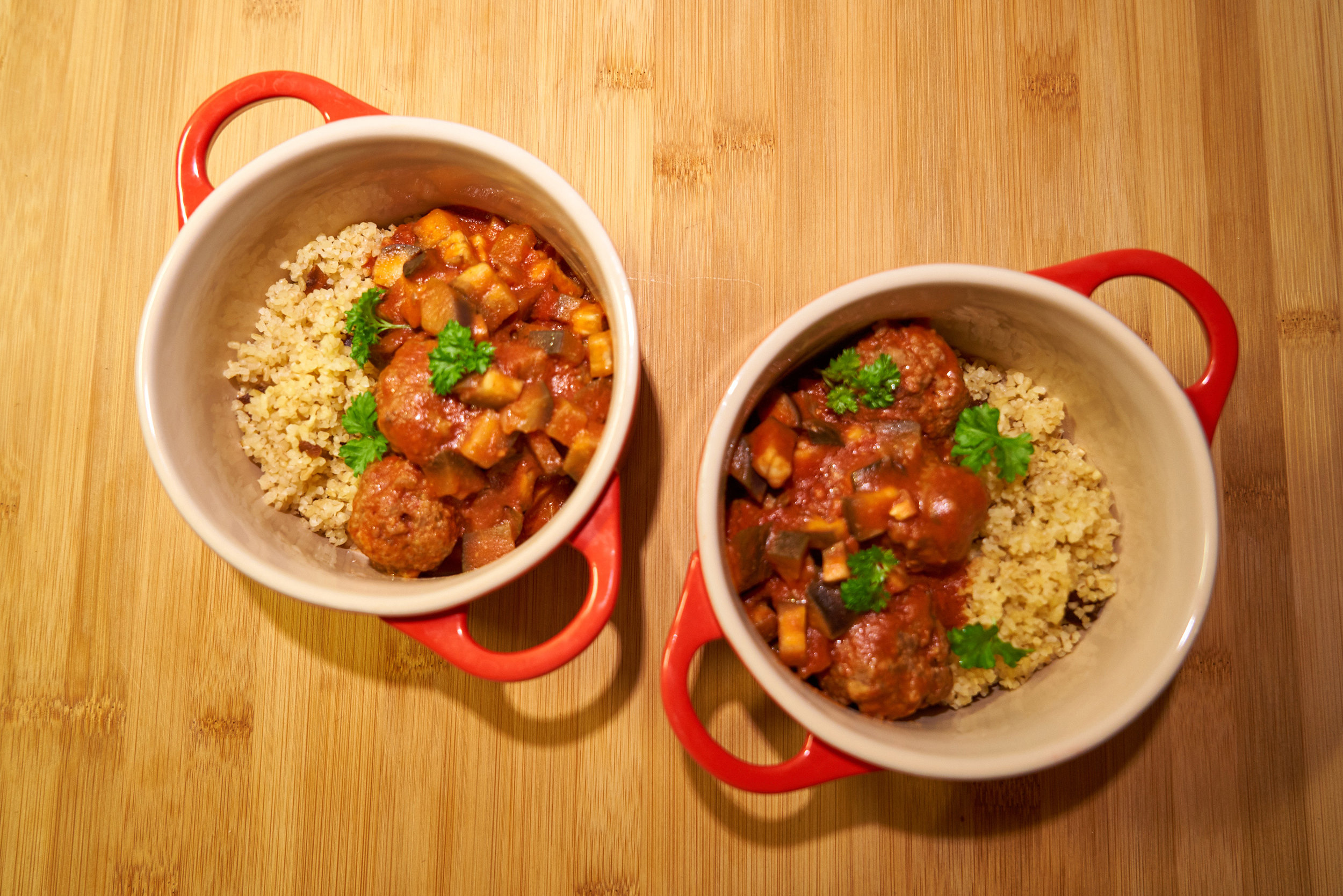 Moroccan Inspired Meatballs with Eggplant in Tomato Sauce | In Carina's Kitchen
