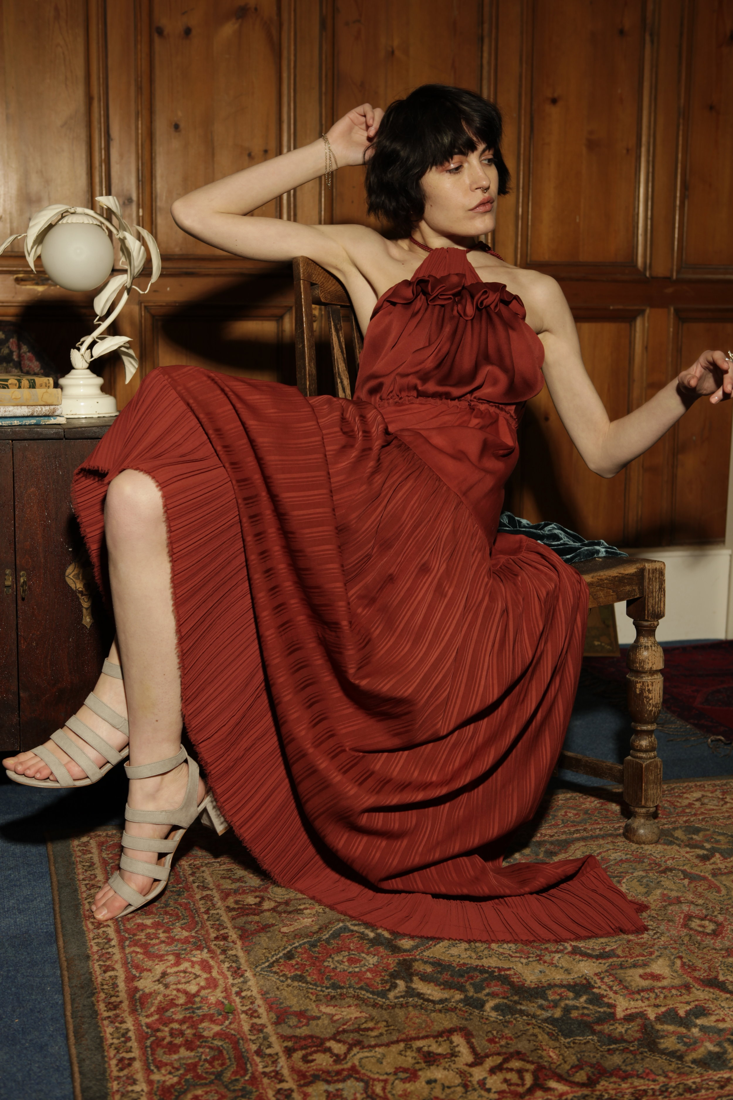 Sustainable red gown by Baue