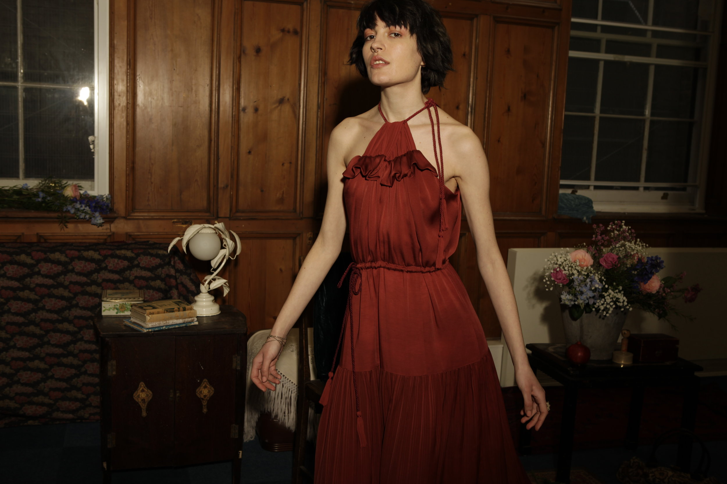 Dark red Lena Gown by Baue