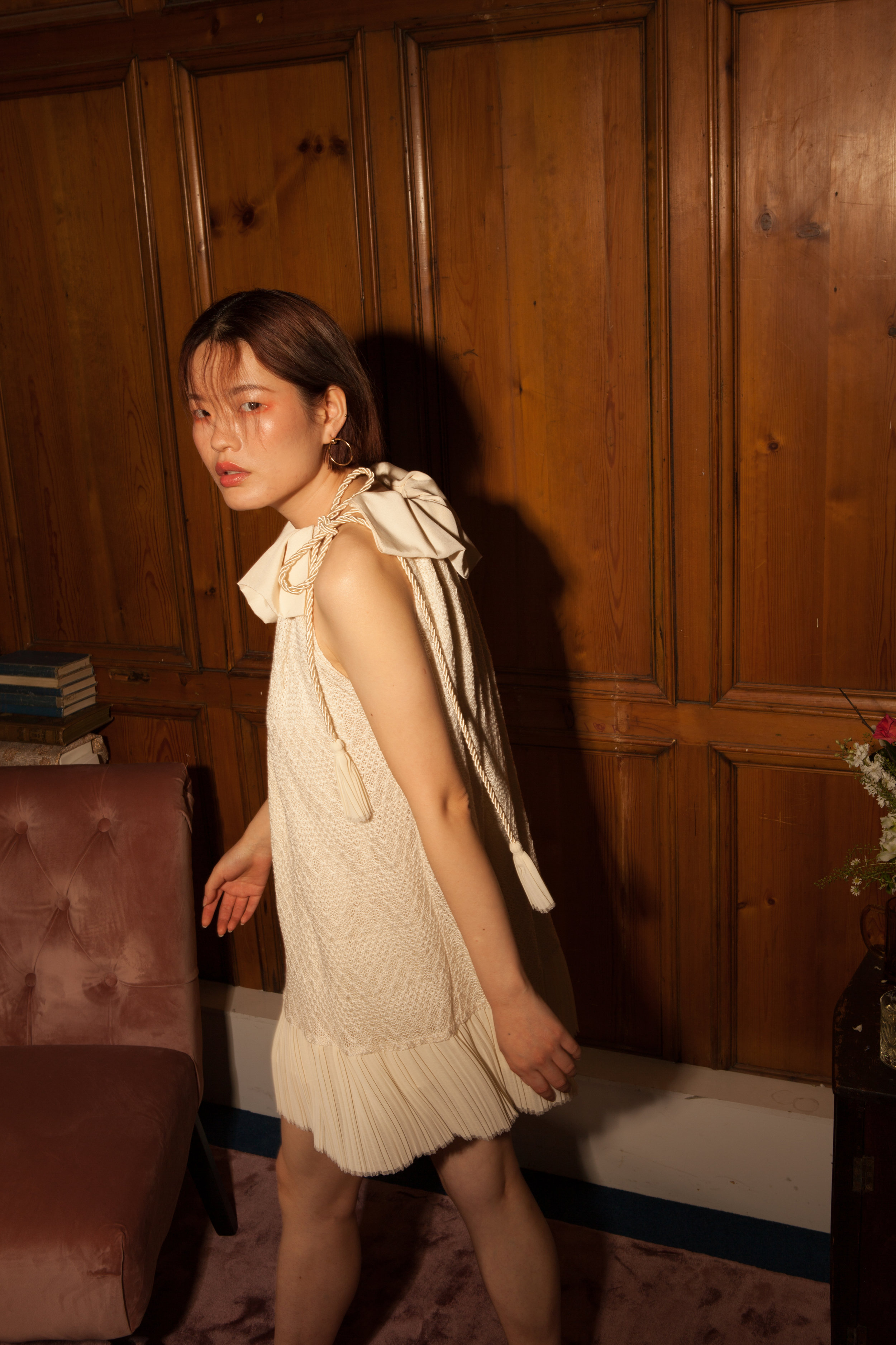Short ivory ethical dress by Baue