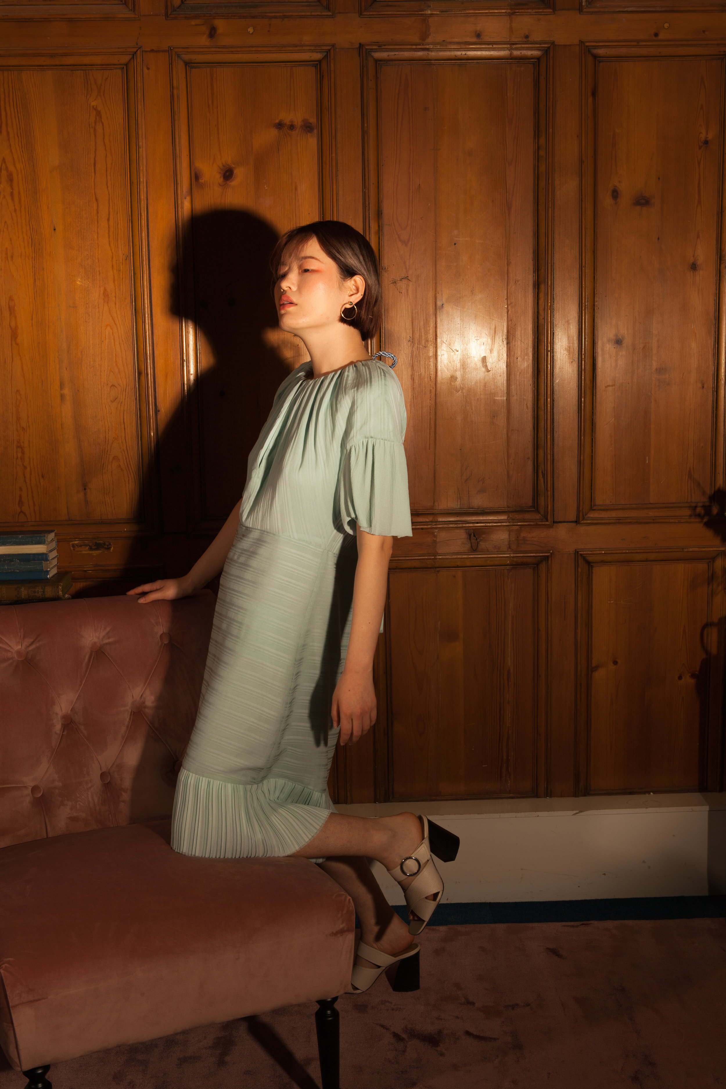 Ethical mint dress with short sleeves by Baue
