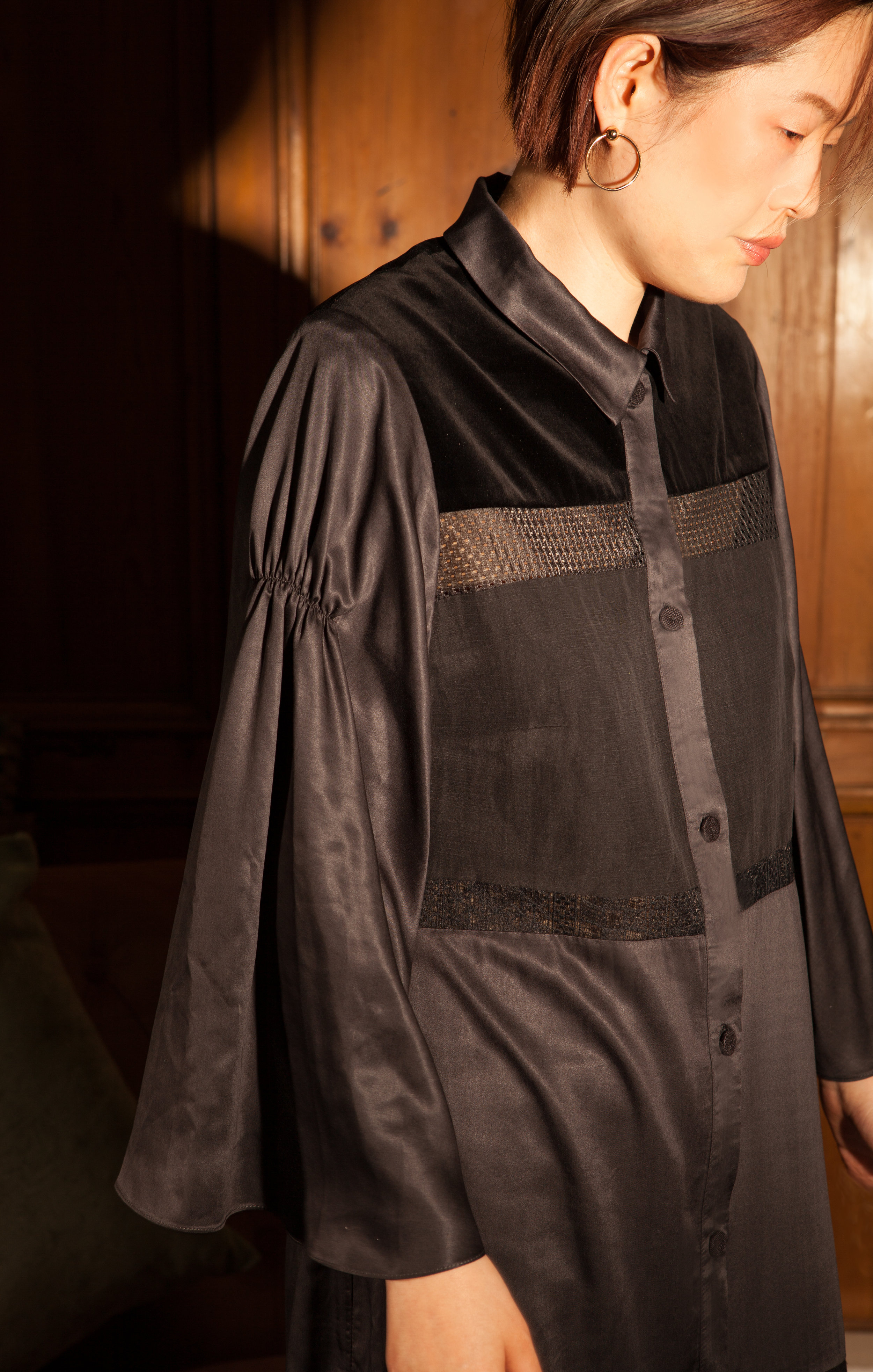 Black Shirt Dress made from sustainable fabrics