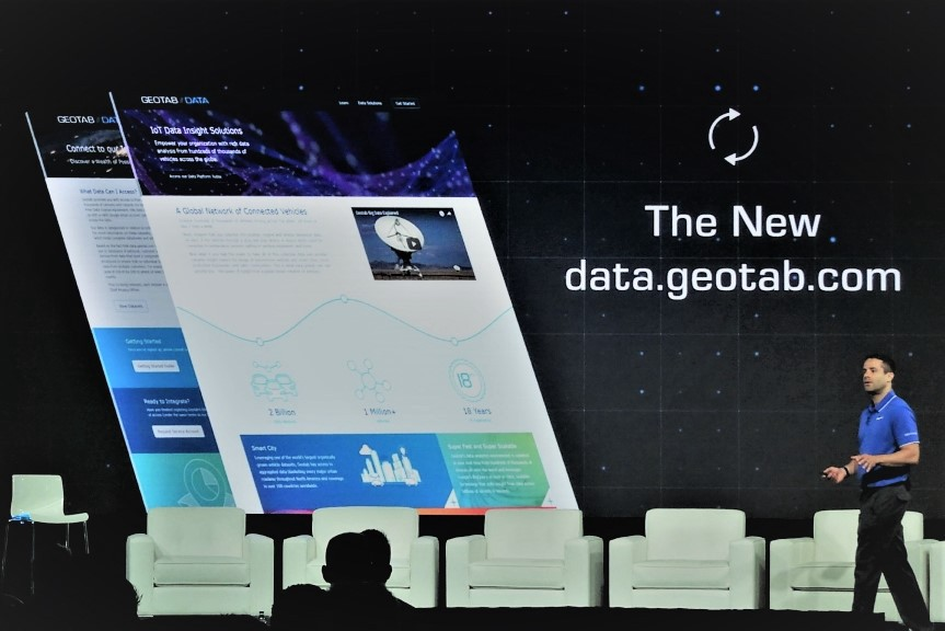 Mike Branch, Vice President of Data & Analytics at Geotab, speaks about  data.geotab.com  at  GEOTAB CONNECT 2018  (Source:  Geotab )