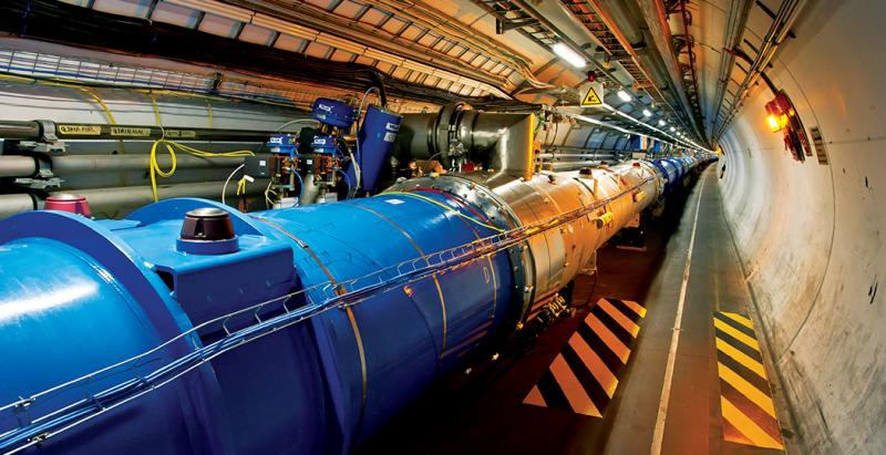 The Higgs boson is the fundamental particle that acts as a force carrier within a universal field of energy known as the Higgs field. To find and characterize this particle, an international group of scientists had to recreate conditions similar to that of the Big Bang inside the Large Hadron Collider (LHC). Given its rarity, the Higgs boson can only be traced by sorting through data collected from trillions of collisions. Image: Large Hadron Collider (LHC) at CERN ""