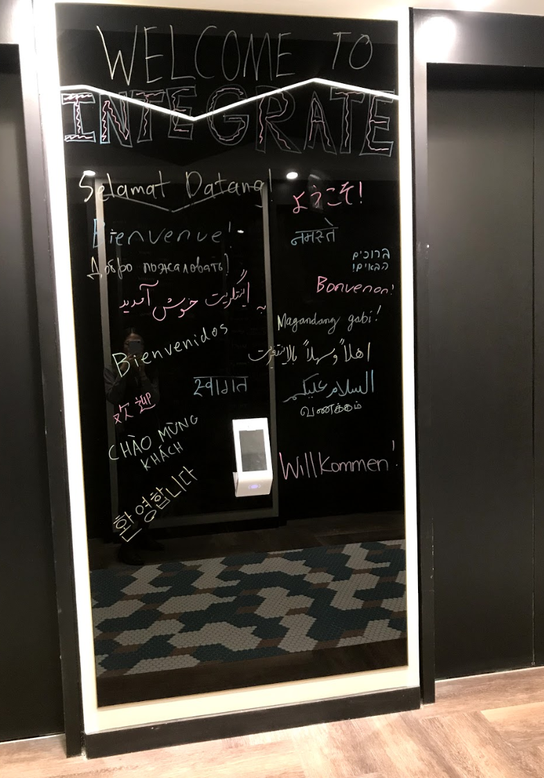 (Entrance at Integrate.ai) In the spirit of work-fun balance, Integaret.ai hosts monthly diversity socials for employees. Garcia specially enjoys the ritual of welcoming new recruits— new hires have half a minute (with no pause) to present a 20-slide introduction deck to the entire company!
