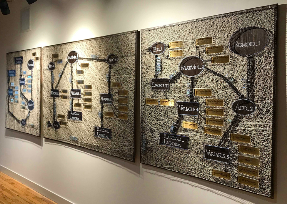 A string art mural hangs in the reception area at Dessa, made by one of the company's employees, who's also a talented artist. The mural replicates the deep learning model Dessa delivered to their first enterprise client back in 2016.   Dessa  collaborates with the world's largest and most complex organizations to build real-world value with Artificial Intelligence.
