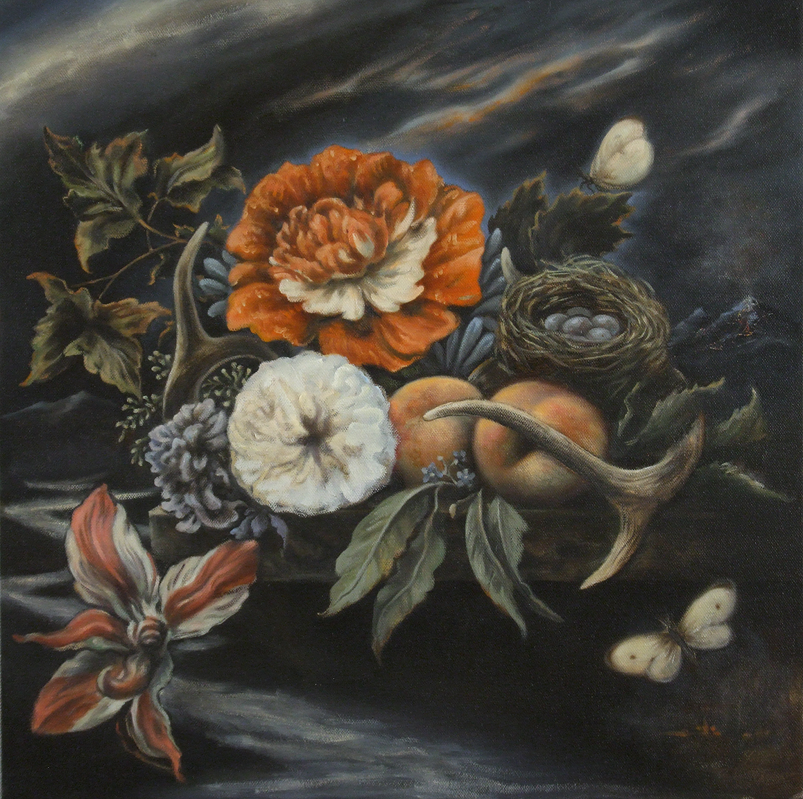 """""""Floral Still Life With Antlers, Peaches, And Bird's Nest"""""""