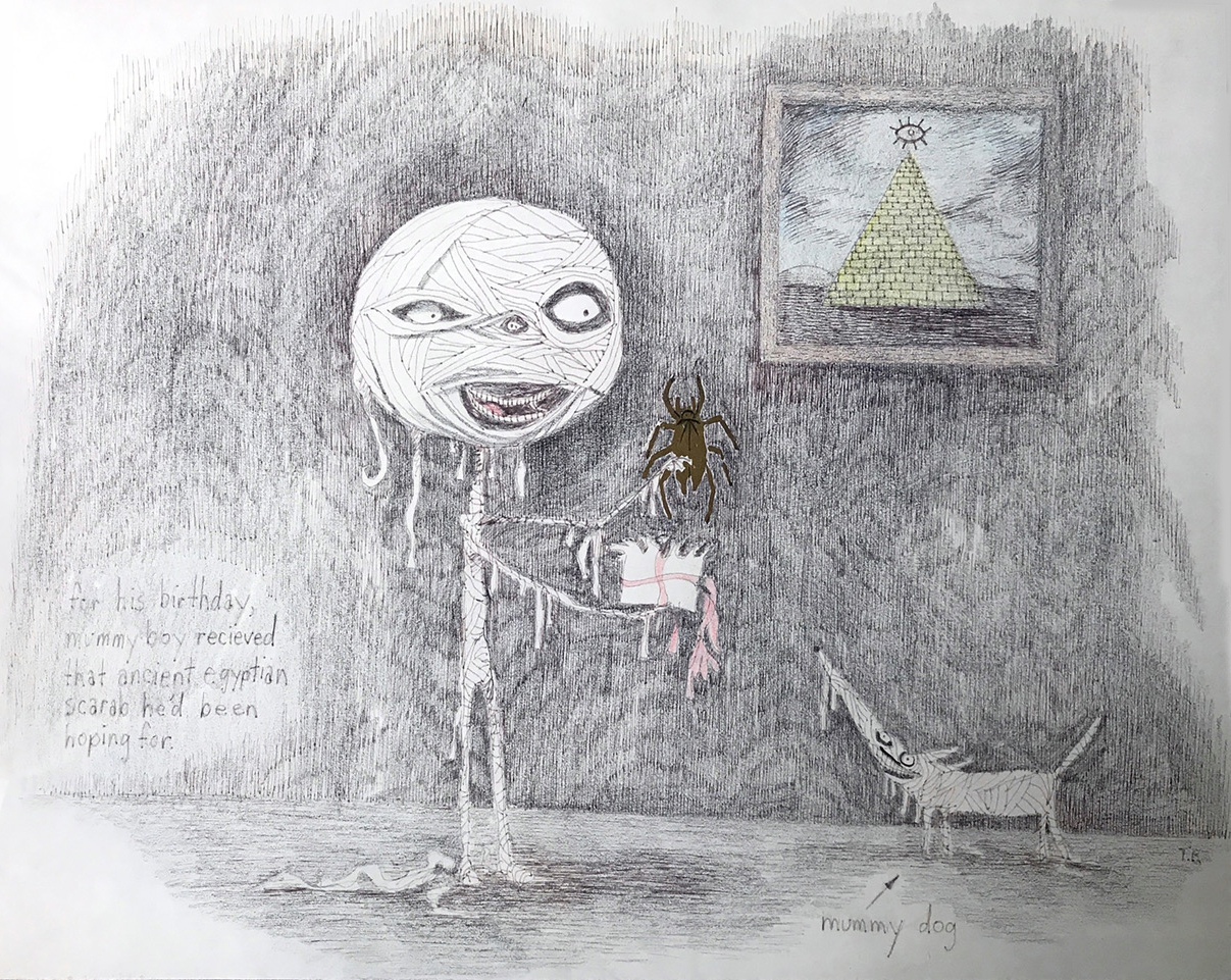 """Mummy Boy""  Graphite, Ink, and Colored Pencil on Paper  15 x 19.5 inches   INQUIRE"
