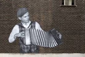 A mural of Guto on the wall of a (now, sadly, demolished) building in Cardiff