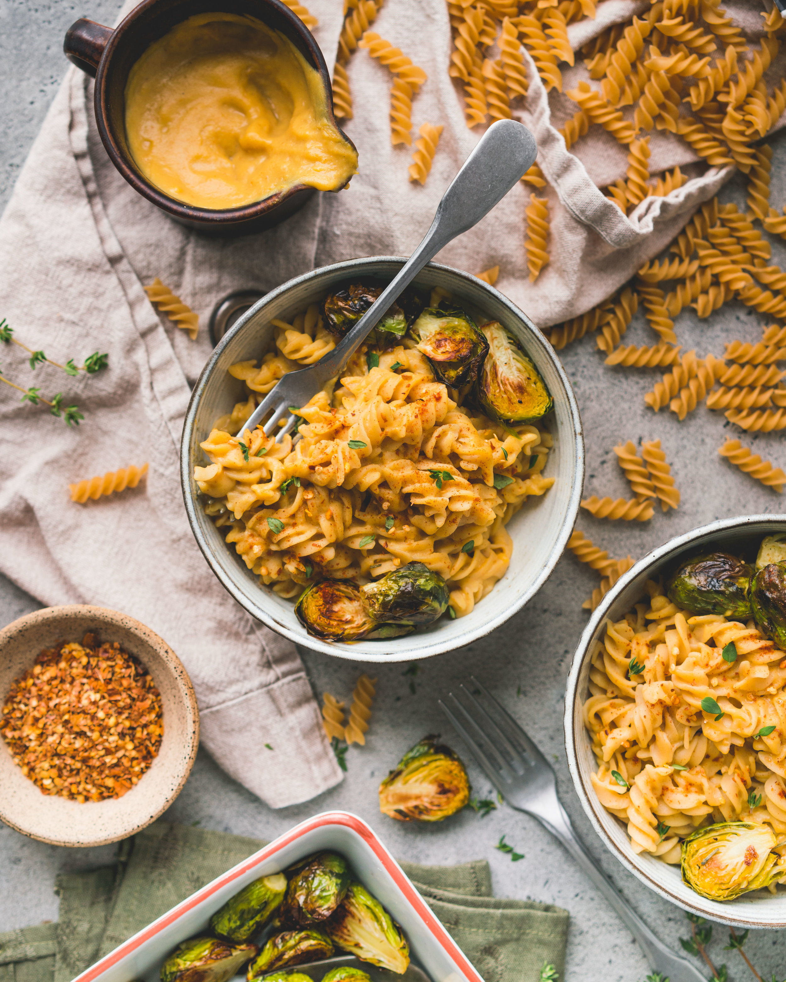 Mac'n cheese aux légumes & lentilles rouges - la sauce permet de faire 4 à 6 portions