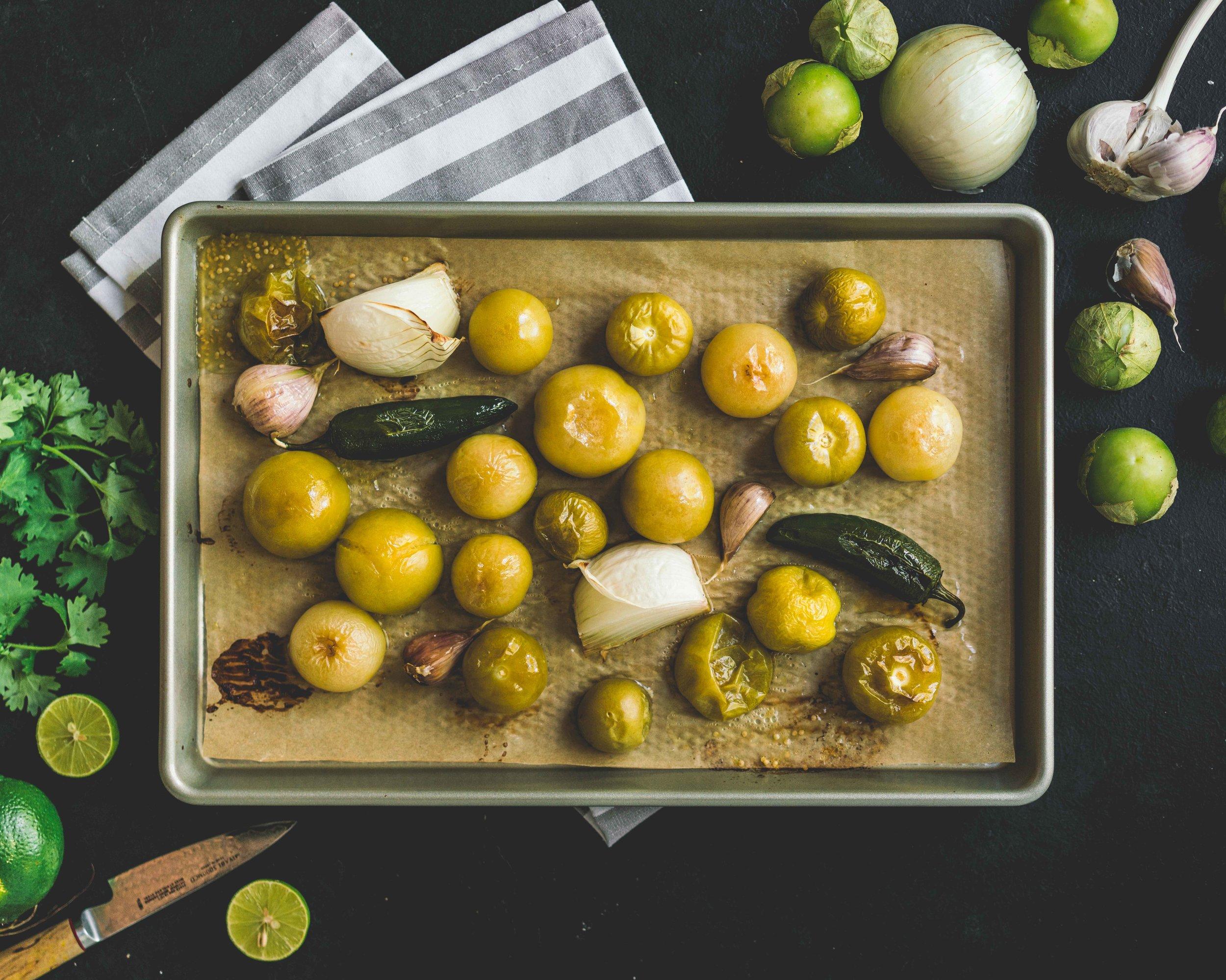 Roasted tomatillos, onion, jalapenos and garlic. Baking sheet from Paderno.