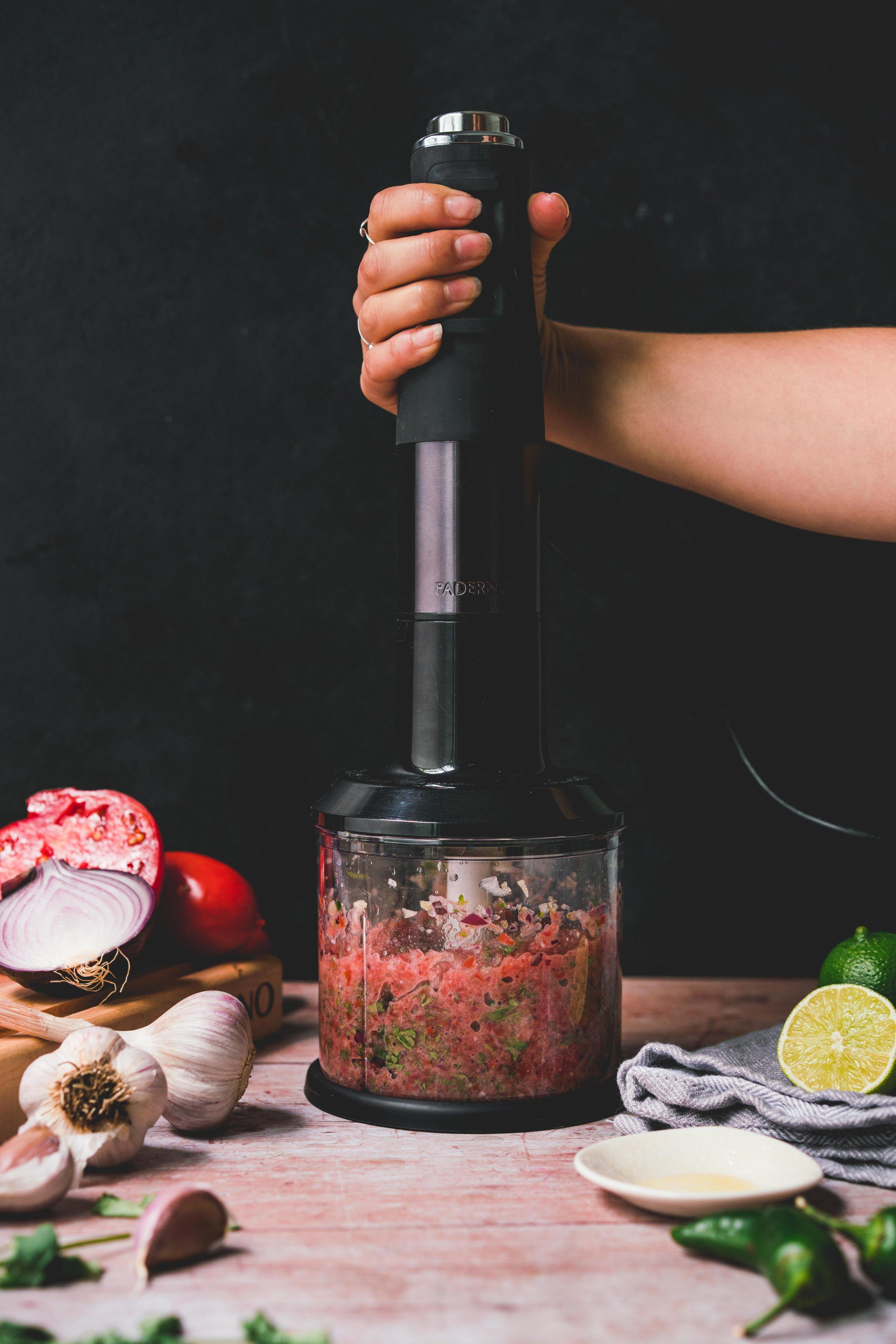 Classic salsa made using Paderno Variable Immersion Blender.