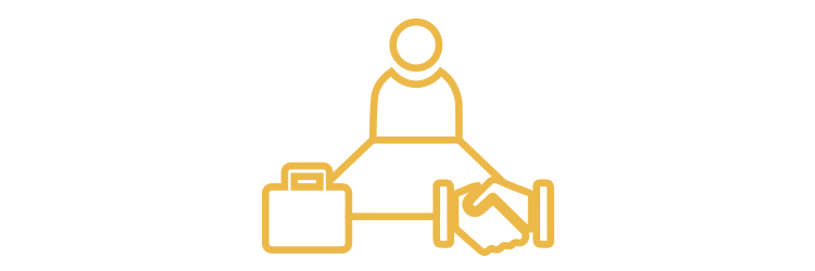 Suitcase, person, handshake icons arranged in a triangle, connected by a line