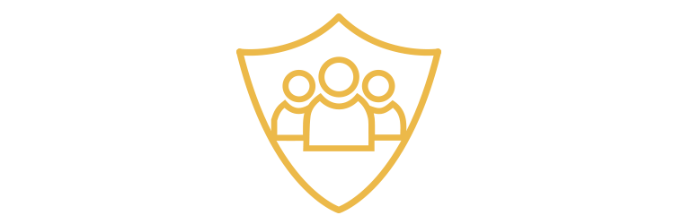 Icon showing employees inside a shield