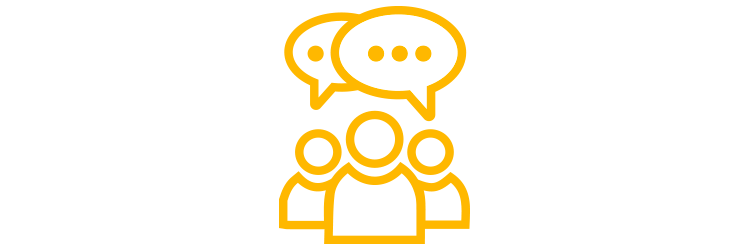 People and speech bubbles icon