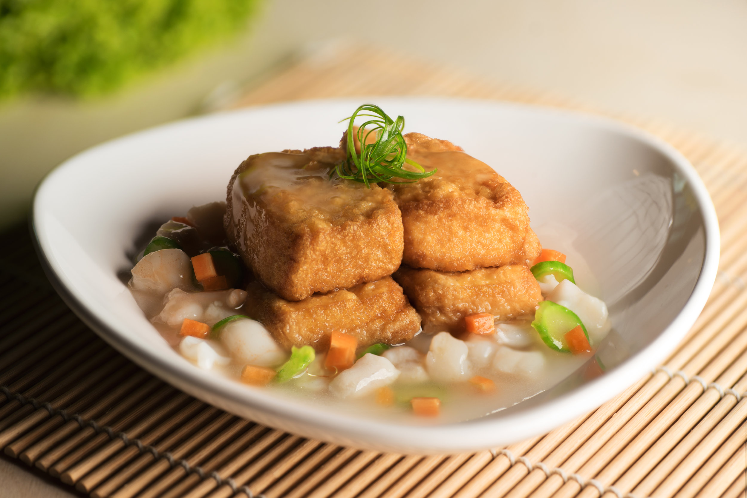 Conpoy, Minced Pork on Guifei Beancurd