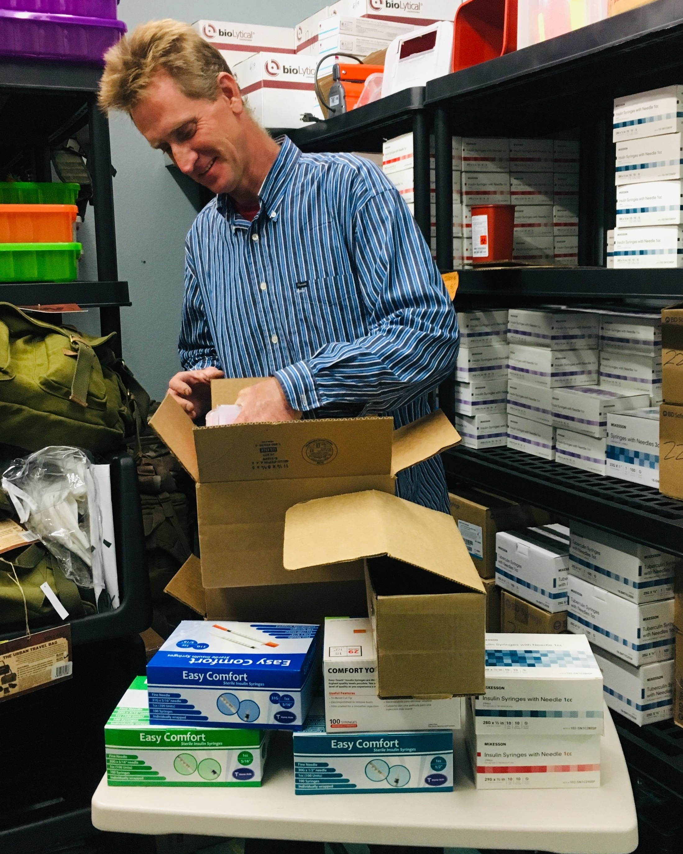 Mail-based Services: What we offer - Clients will receive with their first shipment:a) 1 gallon sharps container or 2 on quart sharps containers, b) 100 syringes (either 30g 5/16th inch tip or 30g 1/2 inch tip, both 1cc), c) Additional supplies for safe injection, d) Treatment and recovery information, e)Safer sex kit (optional), f) Abscess kit (optional), e) Naloxone kit (based on need), f) Fentanyl test strips (based on need).Clients will receive with their second and subsequent shipment:a) 1 gallon sharps container or 2 on quart sharps containers, b) 100 syringes (either 30g 5/16th inch tip or 30g 1/2 inch tip, both 1cc), c) Return mail box with paid postage label d) Instructions on returning sharps legally and safely e) Information on Hepatitis C, safer injection, safer sex, public health programs, treatment etc.