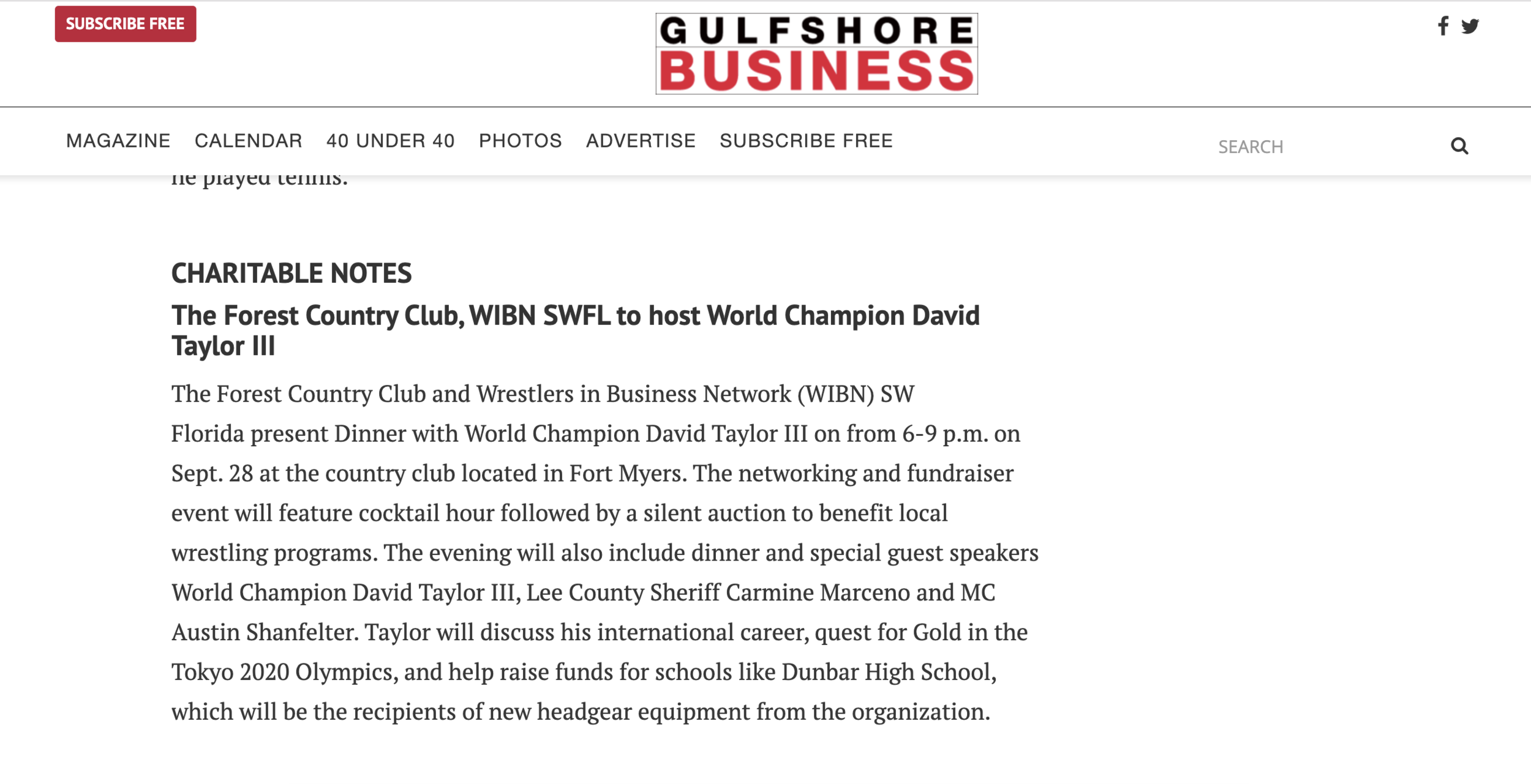 Gulfshore Business recently profiled WIBN SW Florida's upcoming event featuring World Champion David Taylor.  LINK