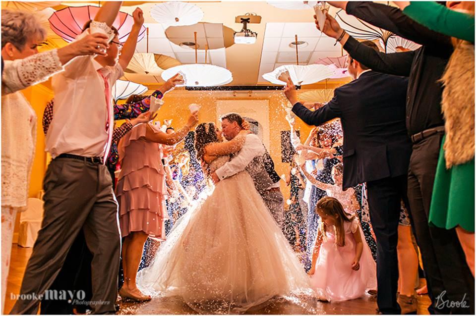 fake snow wedding exit