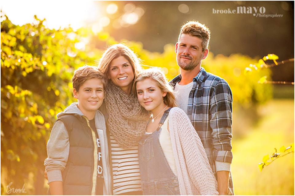 family portrait in the vineyard