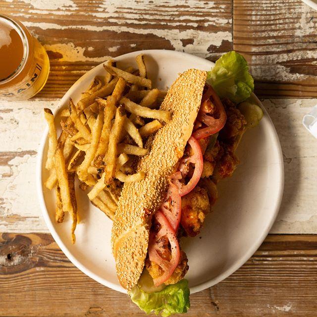 Not your average #poboy.  We prefer it overstuffed! | OVERSTUFFED SHRIMP PO'BOY: fried gulf shrimp, bibb lettuce, tomato, comeback sauce, louisiana hot sauce #southmainkitchen