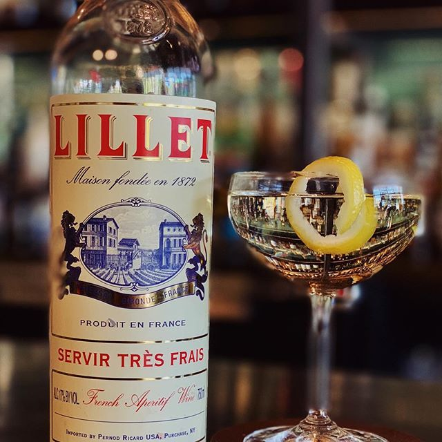Keep it classic with a vesper: Ford's gin, Dixie vodka, and Lillet blanc