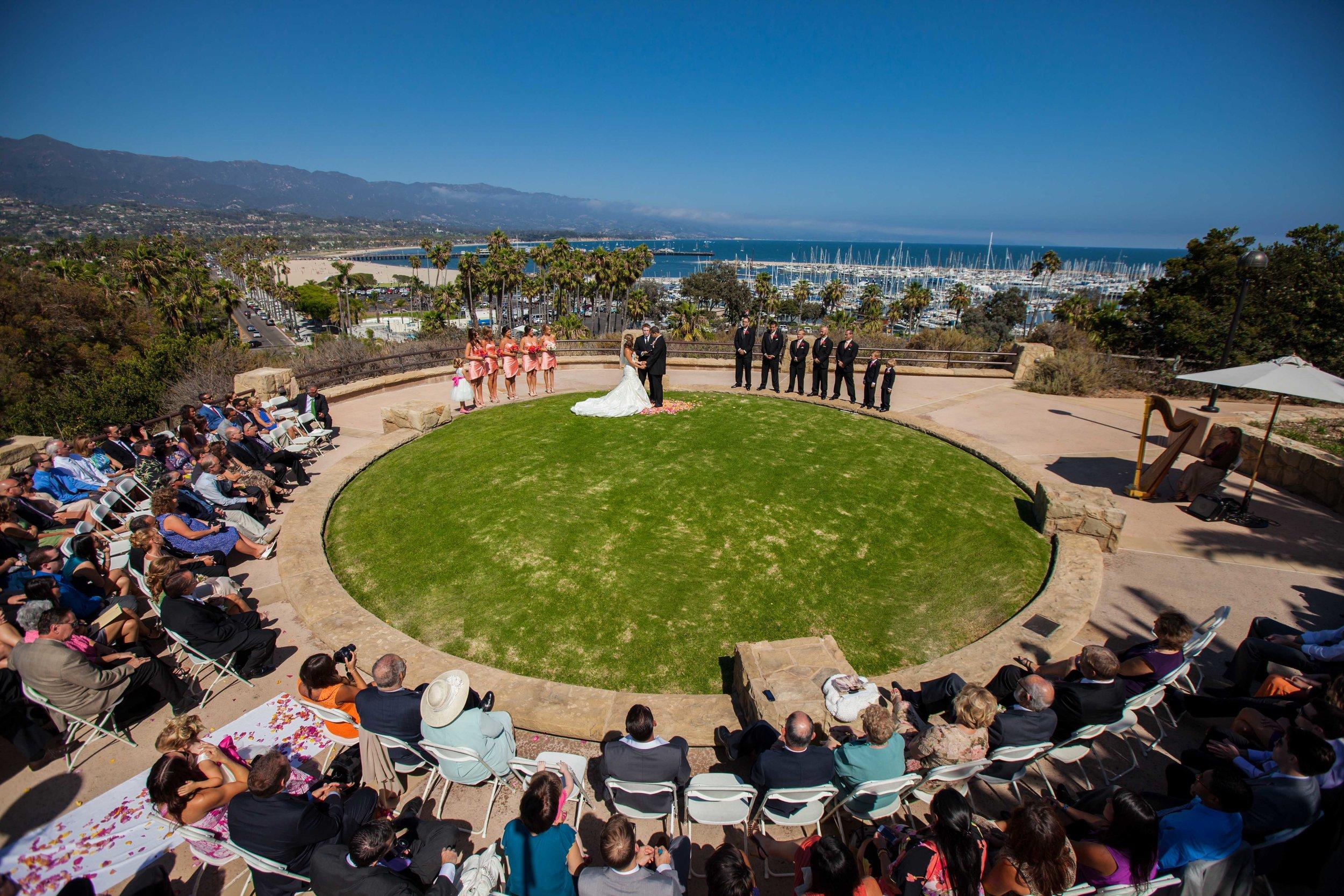 Aerial Photo of Krista and Mike's ceremony overlooking santa Barbara harbor - Santa Barbara, CA
