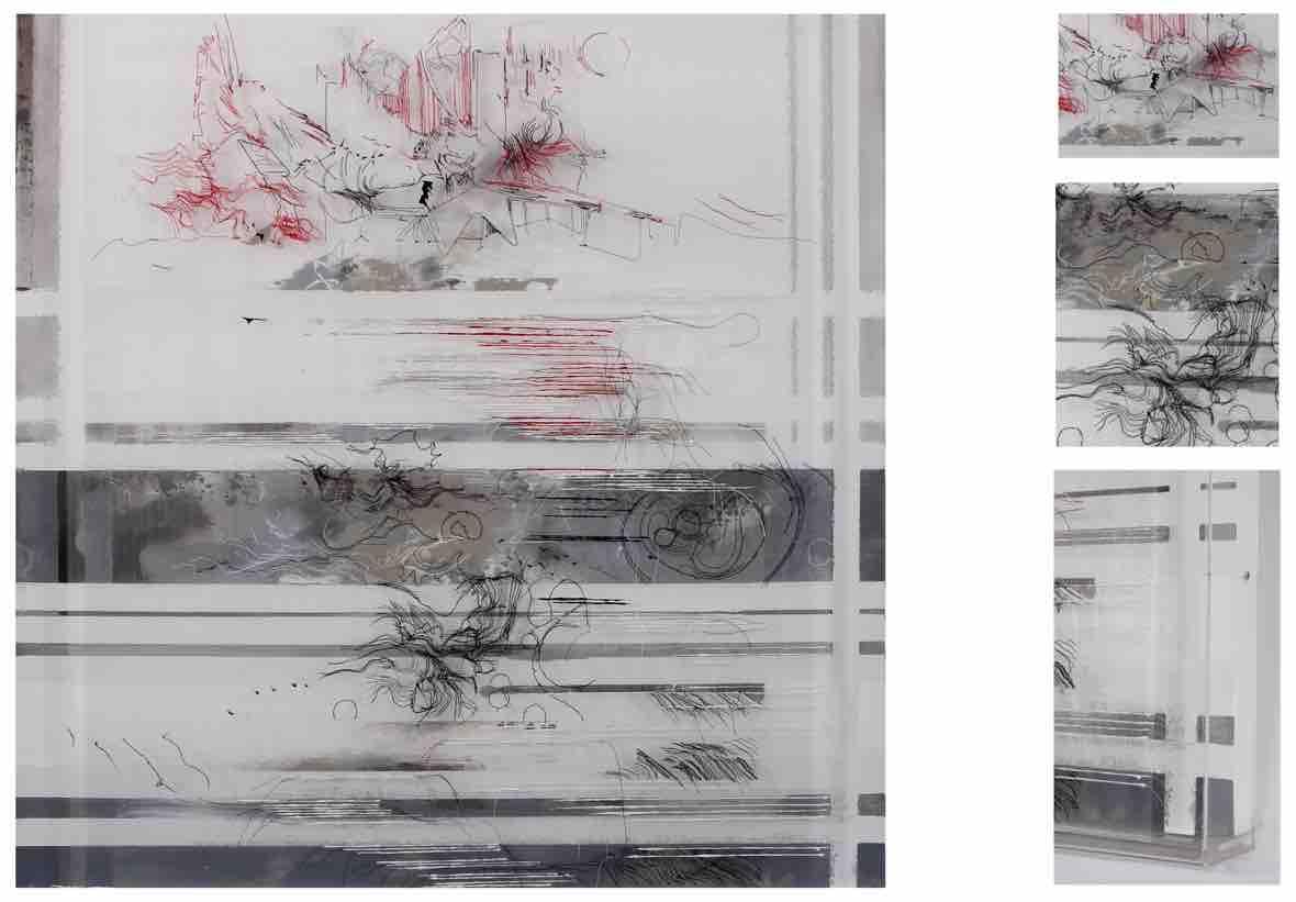 Kussmaul, S.  Microbes, rhythm, big construction , 2014. Transparent fabric, thread, canvas, acrylic paint, in Perspex box.