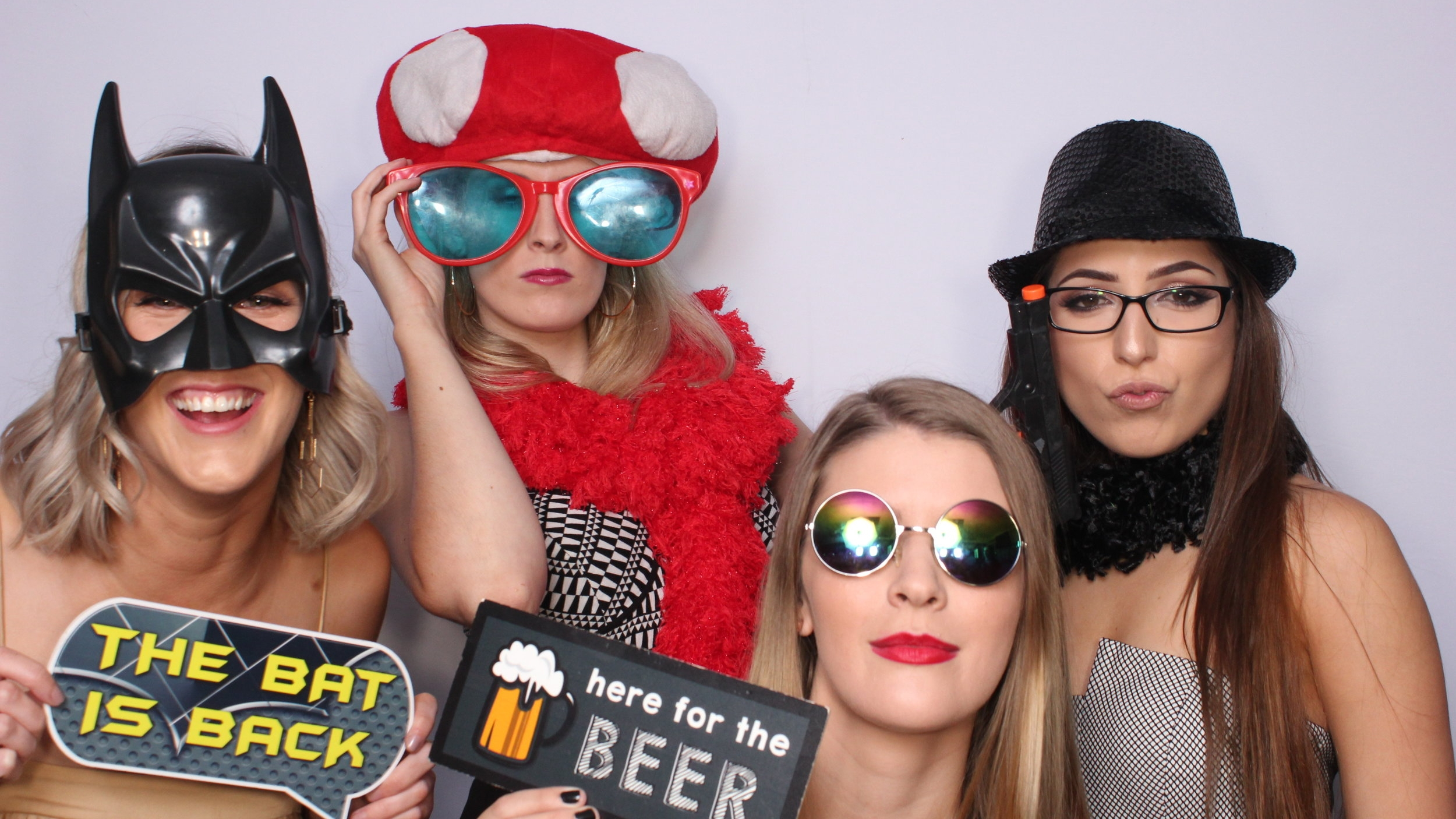 PROPS - We have a HUGE assortment of FUN props including hats, glasses, masks, boas, stick props & signs in many different themes to add more GIGGLES to your pics…your guests will be talking about your event long after the night is over as they share the AWESOME memories that ya'll created with Slapstick Photobooth in Adelaide.