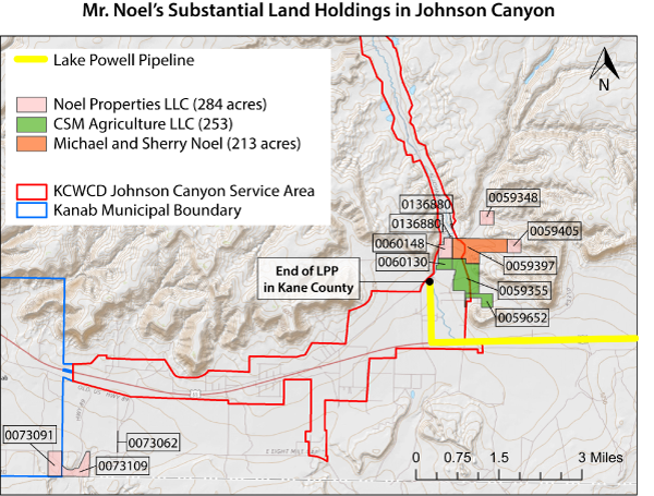 Map showing Rep. Mike Noel's land holdings in the Johnson Canyon area near the terminus of the proposed Lake Powell Pipeline in Kane County.  The Johnson Canyon service area outlined in red may be the only area that will receive water from the Pipeline. (Boundaries are approximate)