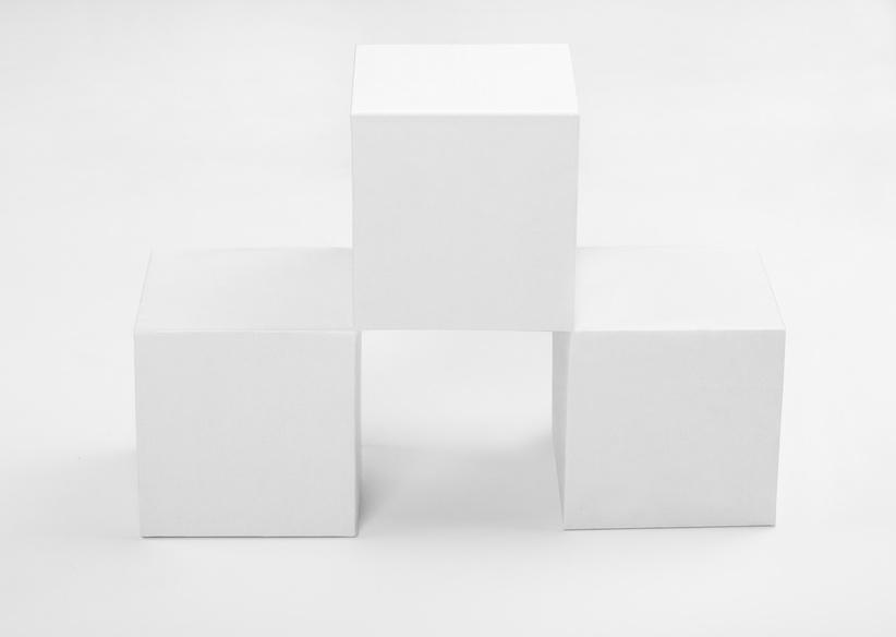three white cubes