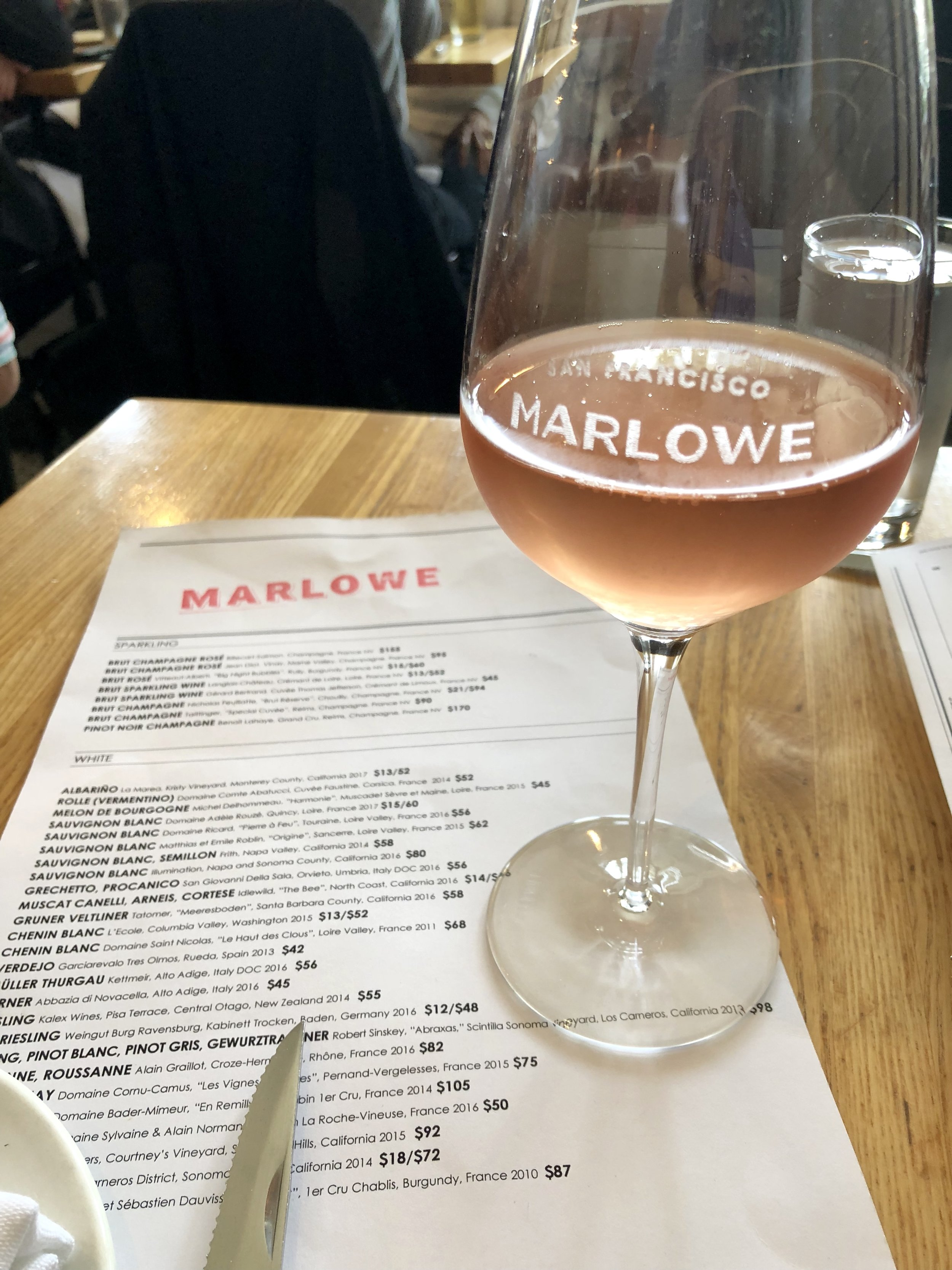Lunchtime wine at Marlowe, San Francisco.