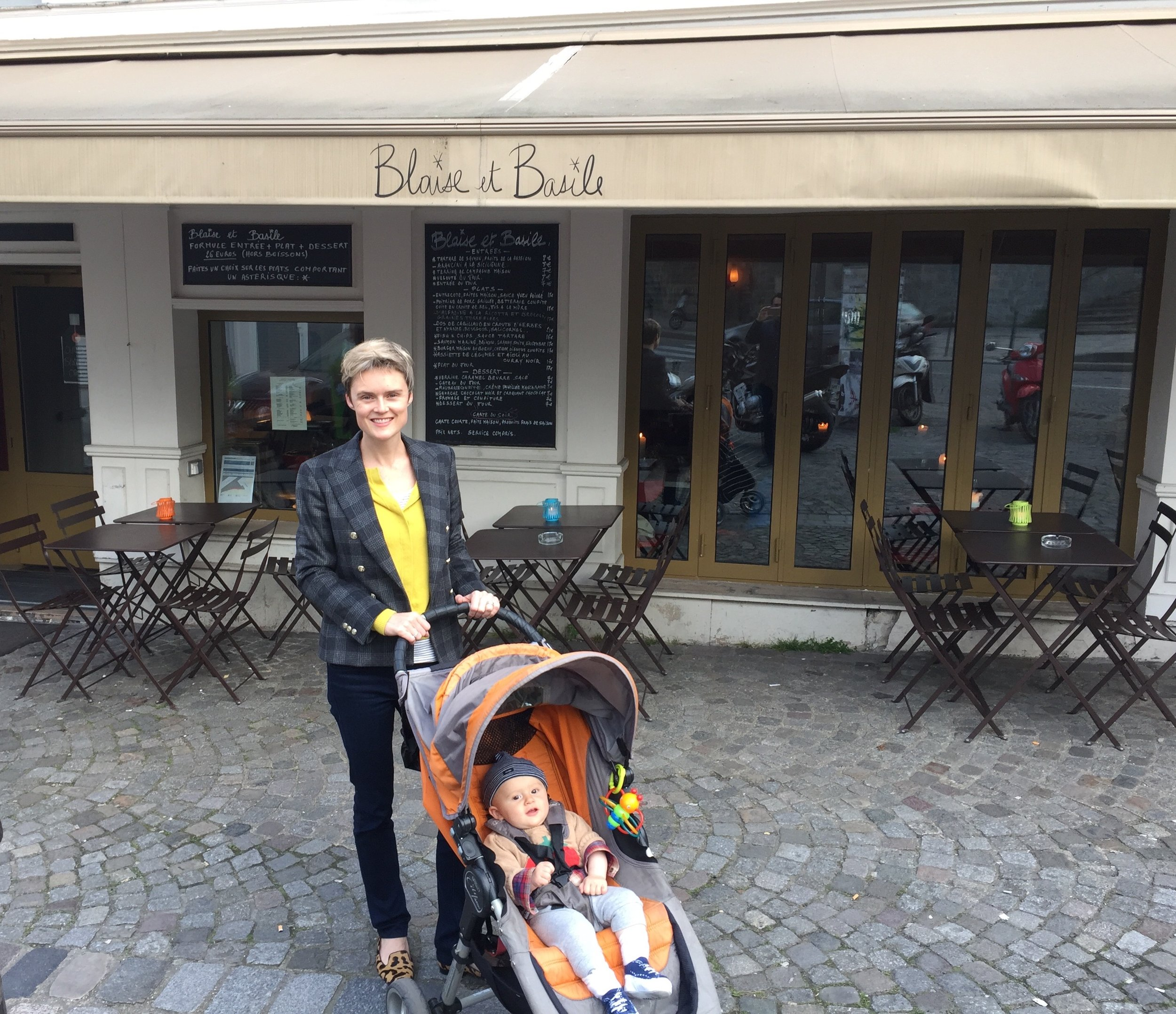 Me and Emile, getting used to the cobblestoned streets via stroller