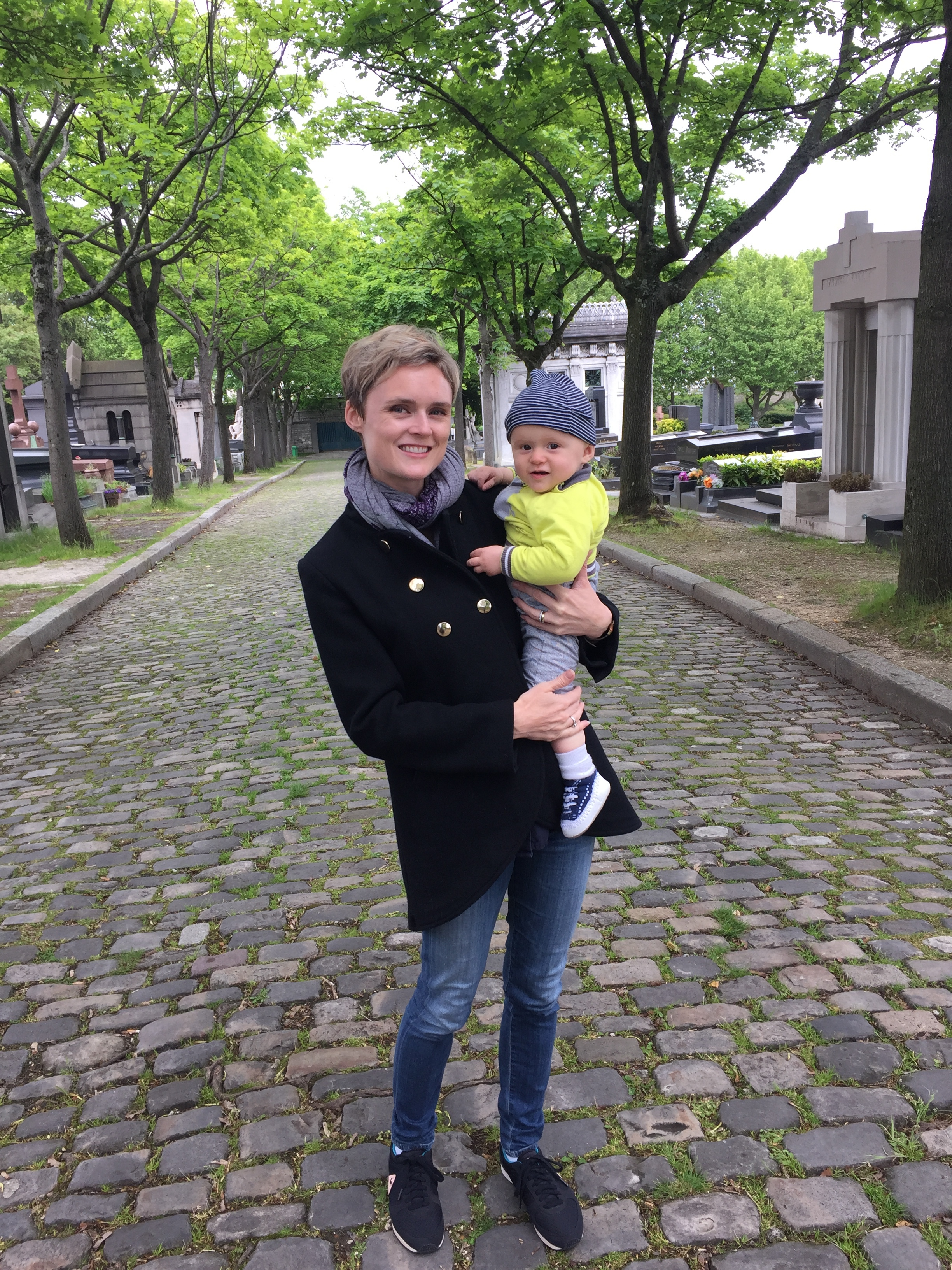 Pere Lachaise cemetery, decidedly not stroller-friendly but a great spot for letting baby roam freely.