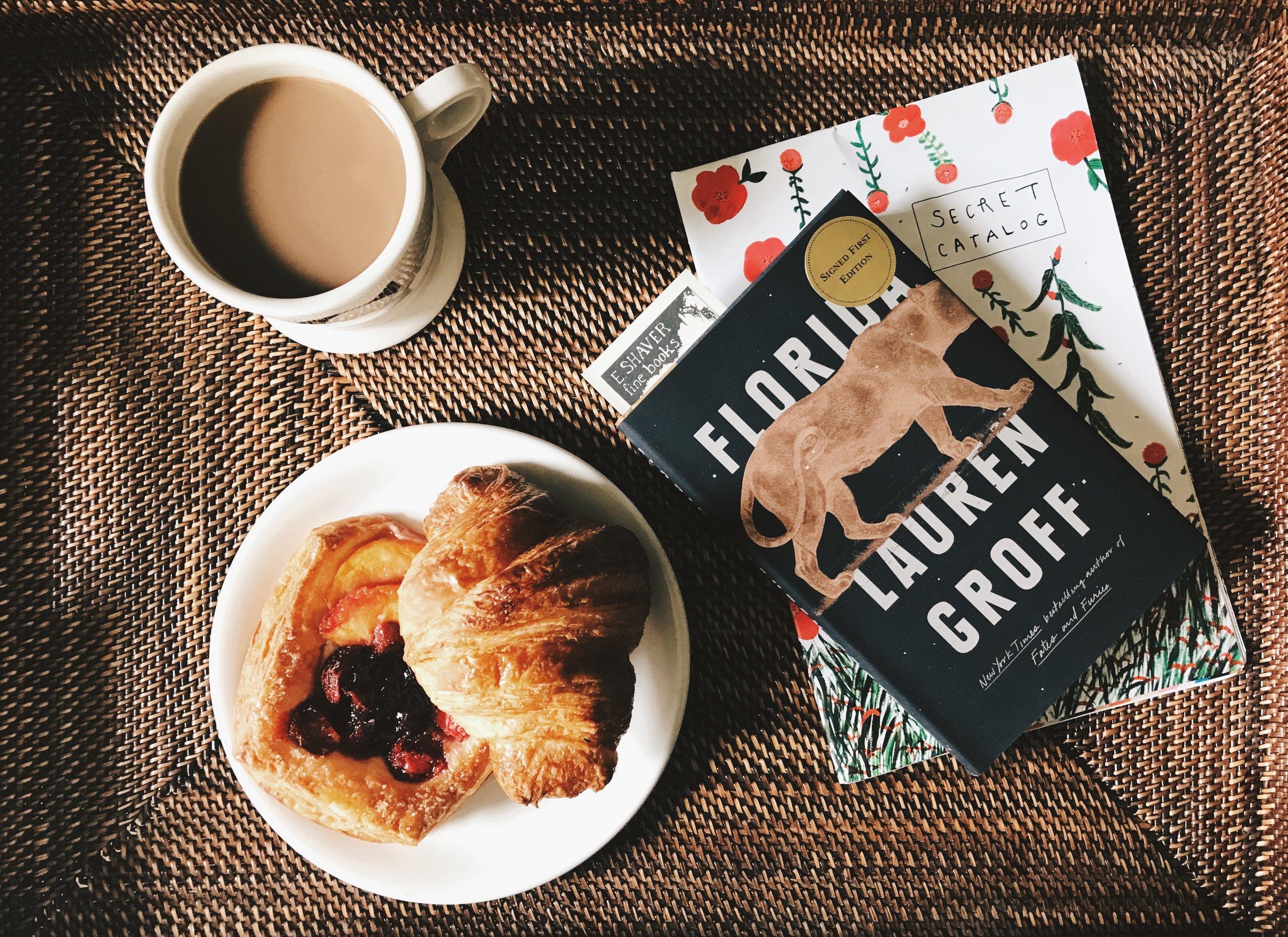 Breakfast Tray,   Williams-Sonoma   ( similar ). Mug,   Anthropologie  .   Florida   by Lauren Groff.