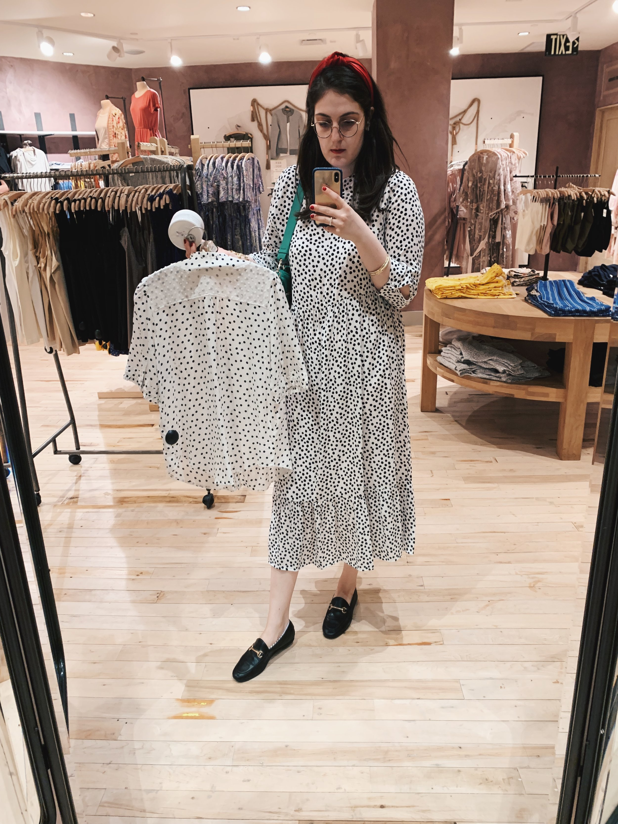 Contemplating yet another polka dot purchase (and reader, it was purchased)