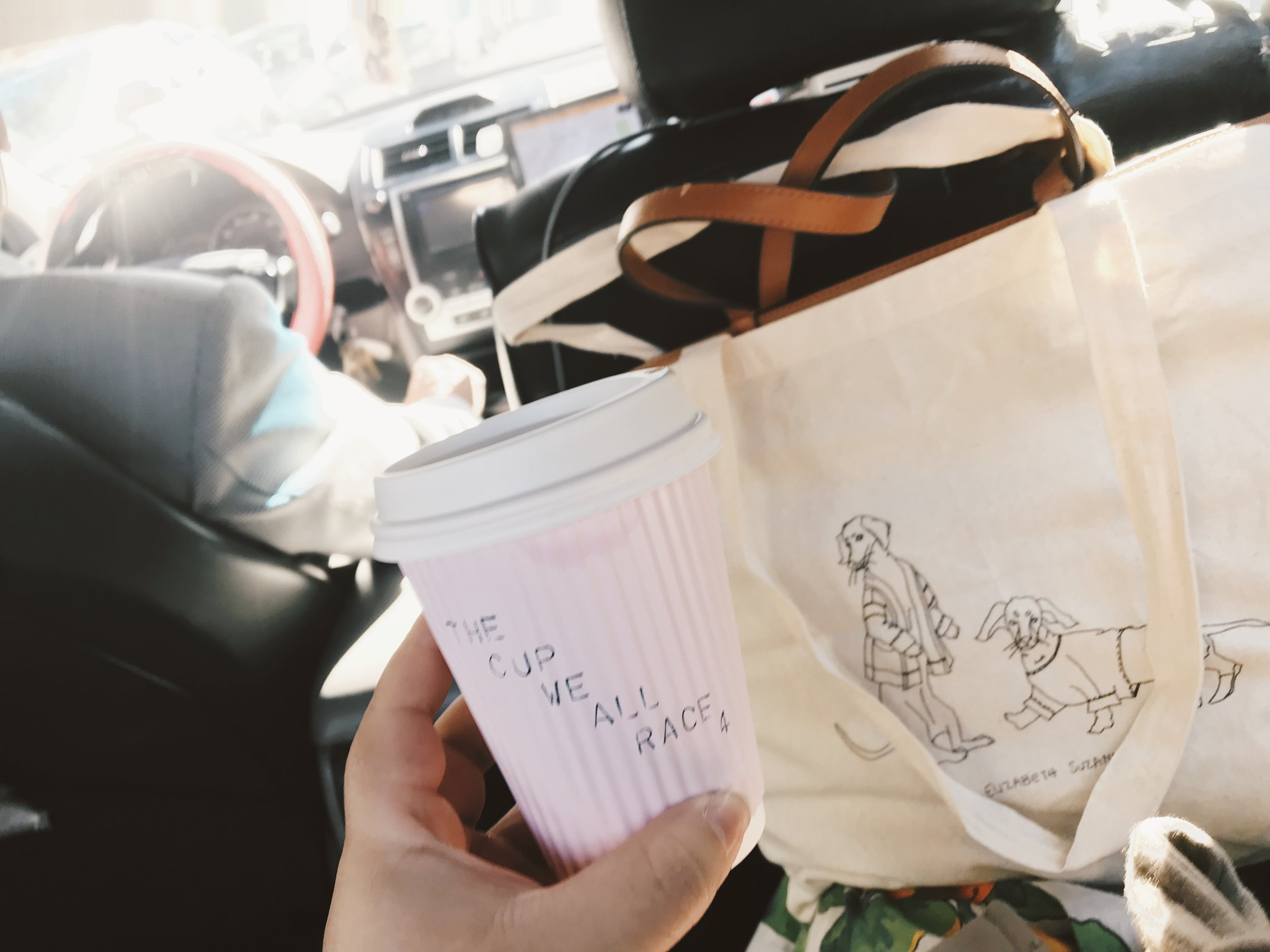 Racing to our next destination, coffee in tow.
