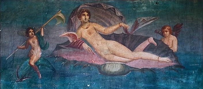 Venus on seashell, falling into the sea, from the Casa della Venere in conchiglia,  Pompeii . Before AD 79.