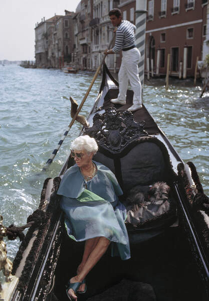 Peggy Guggenheim photographed by Tony Vaccaro in Venice, 1966.