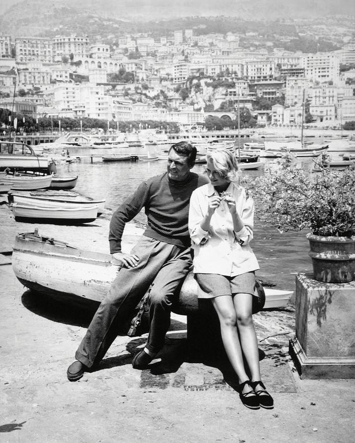 Cary Grant and Grace Kelly on set for To Catch a Thief (1955).