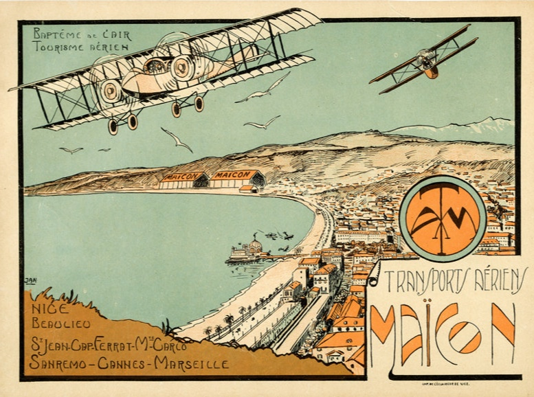 Transports Aeriens Maïcon (1920s), artwork by Jean A. Mercier.    Planes play a significant role in the Riviera portion of Save Me the Waltz.