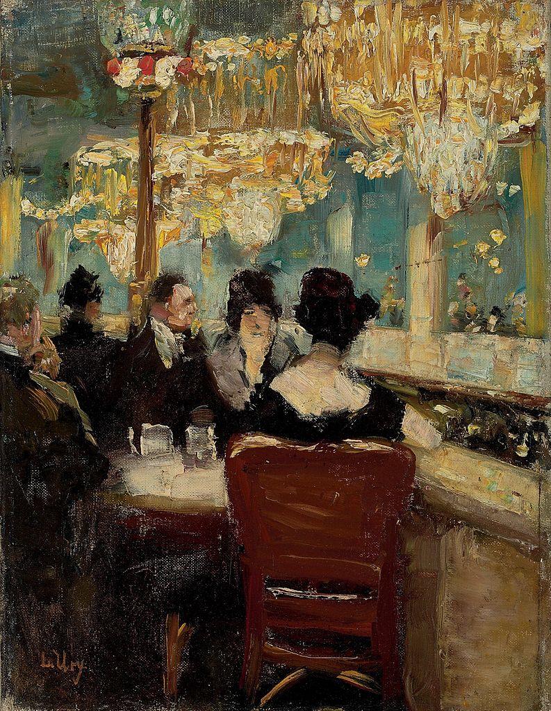 "Lesser Ury, ""Galerie im Café Vaterland am Potsdamer Platz, Berlin,"" ca. 1920."