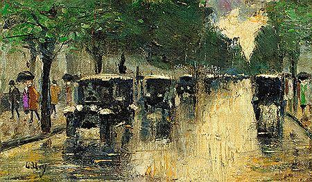 """Lesser Ury, """"Berliner Strasse Im Regen,"""" ca. 1925."""
