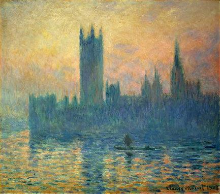 """Claude Monet, """"Le Parlement de Londres, soleil couchant,"""" 1903."""