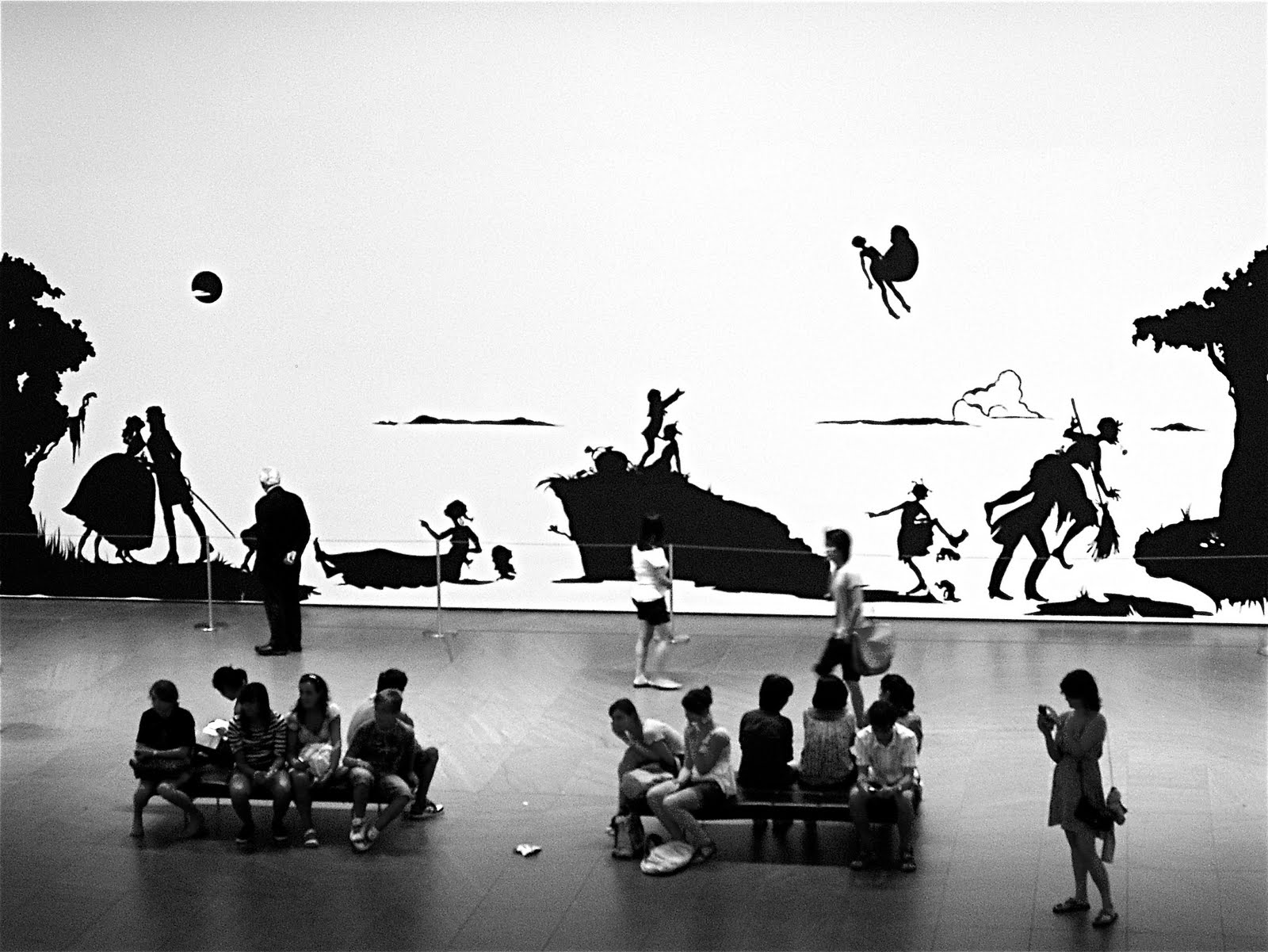 """Kara Walker, """"Gone, An Historical of a Civil War as it Occurred Between the Dusky Thighs of One Young Negress and Her Heart,"""" (1994)."""