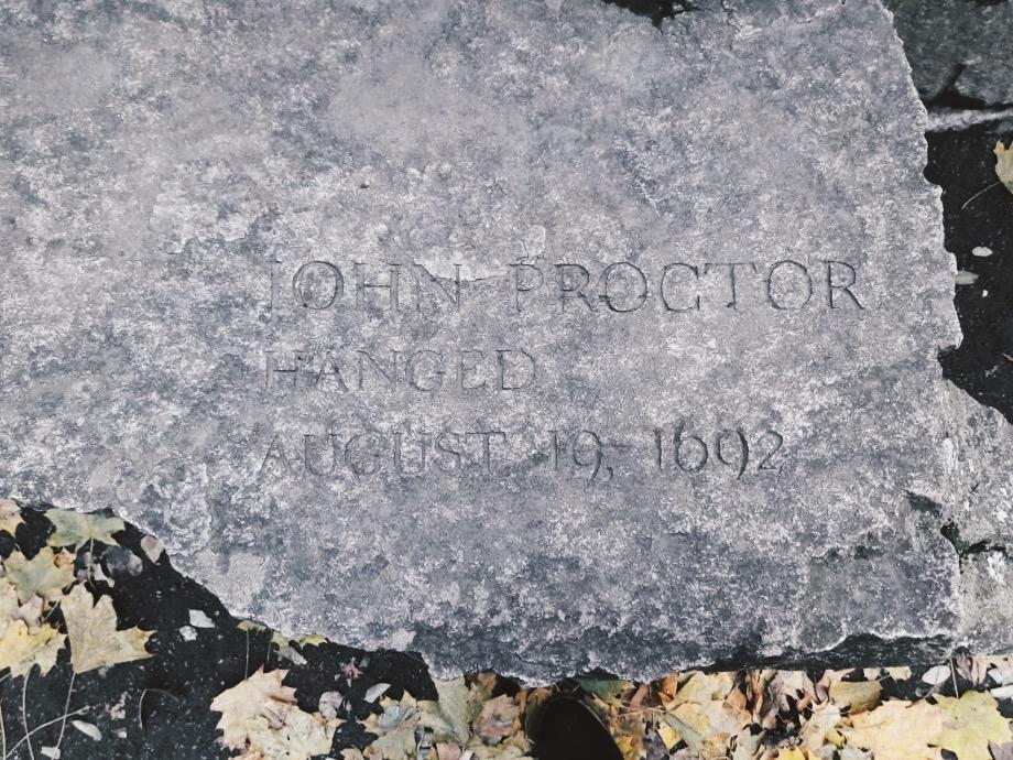 John Proctor's grave in Salem, MA; photo courtesy of Sam Cohen.