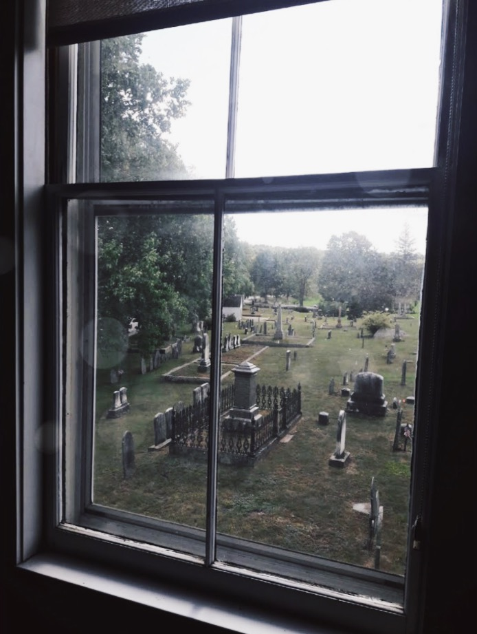 The view of a cemetary from the Harvard General Store in Harvard, MA where they filmed scenes for the upcoming Little Women movie. Photo courtesy of Sam Cohen.