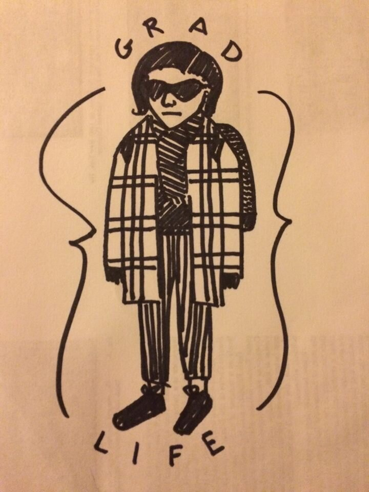 Zoë G. Burnett, Self Portrait. Sharpie on the back of a misprinted lecture article. ca. 2015.